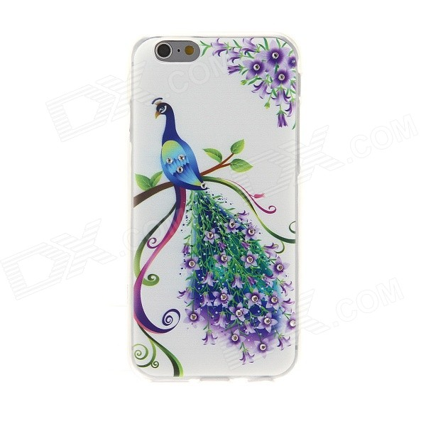 Kinston Peacock Diamond Paste Pattern Protetcive TPU Back Case for IPHONE 6 4.7 - Green + Purple sharpener polishing wax paste metals chromium oxide green abrasive paste chromium oxide green polishing paste