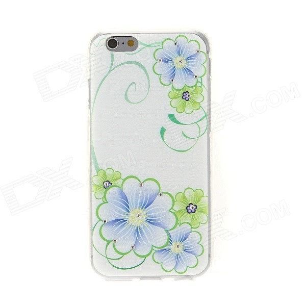 Kinston Blue and Green Flower Diamond Paste Pattern TPU Soft Case for IPHONE 6 4.7 - Blue + Green sharpener polishing wax paste metals chromium oxide green abrasive paste chromium oxide green polishing paste