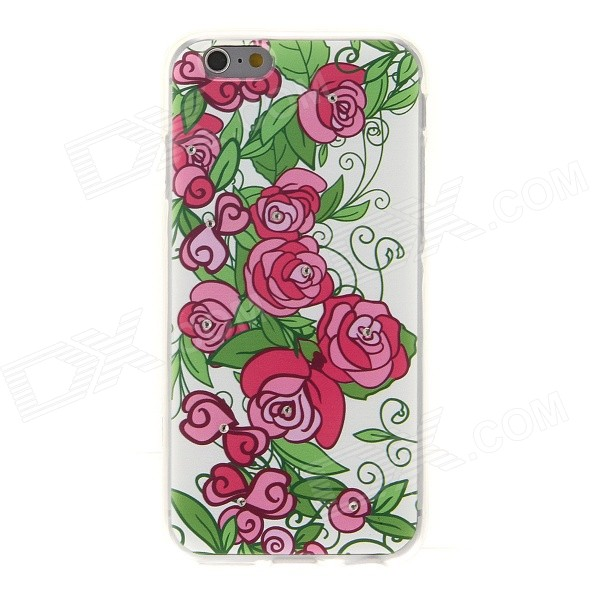 Kinston Greenery Safflower Diamond Paste Pattern TPU Soft Case for IPHONE 6 - Red + Green sharpener polishing wax paste metals chromium oxide green abrasive paste chromium oxide green polishing paste