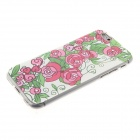 Kinston Greenery Safflower Diamond Paste Pattern TPU Soft Case for IPHONE 6 - Red + Green