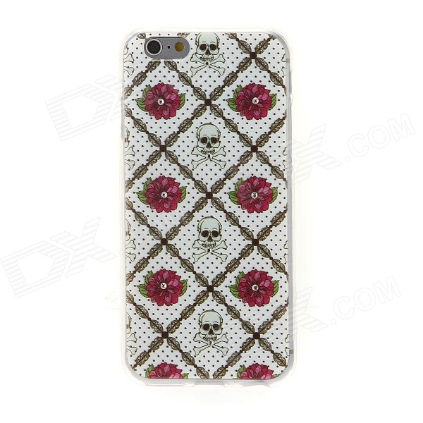 все цены на Kinston Rose Skull Pattern Rhinestone Studded Protective Soft TPU Back Case Cover for IPHONE 6 онлайн