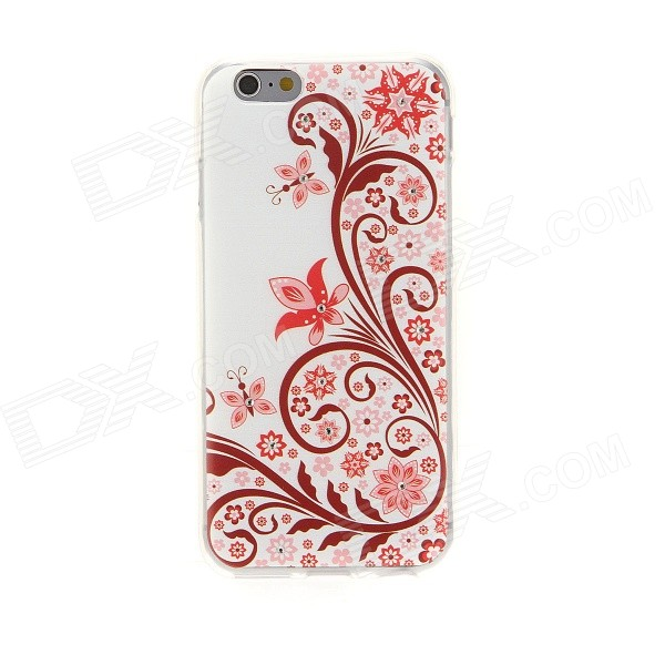 Kinston Flower Pattern Rhinestone Studded Protective Soft TPU Back Case for IPHONE 6 - Red + White ultrathin flower pattern tpu material back case for iphone 6 4 7 inches