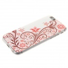 Kinston Flower Pattern Rhinestone Studded Protective Soft TPU Back Case for IPHONE 6 - Red + White