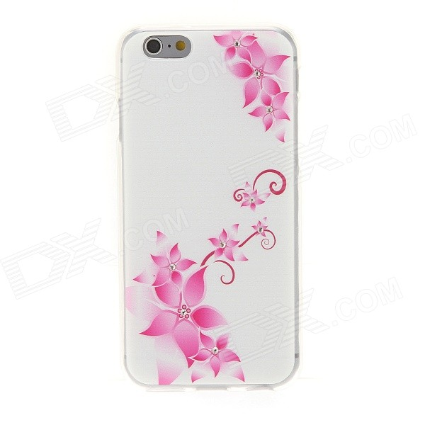 Kinston Vine + Flower Pattern Rhinestone Studded Soft TPU Back Case for IPHONE 6 - Pink + White ultrathin flower pattern tpu material back case for iphone 6 4 7 inches