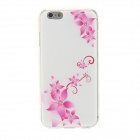 Kinston Vine + Flower Pattern Rhinestone Studded Soft TPU Back Case for IPHONE 6 - Pink + White