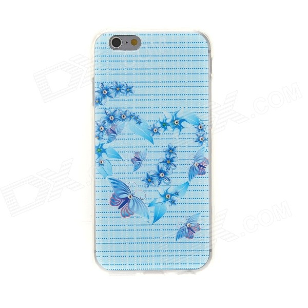 Kinston Butterfly Diamond Paste Pattern TPU Soft Back Case for IPHONE 6 - Blue + Purple glossy tpu gel back protection case for iphone 7 plus light purple