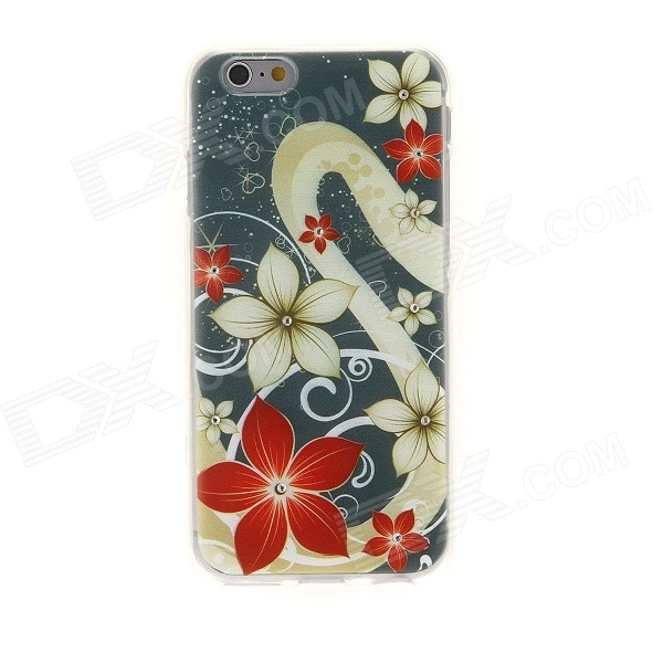 Kinston Star Sky Five Petals Flower Rhinestone Paste Pattern TPU Soft Back Case for IPHONE 6 kinston vine five petals flower pattern pu plastic case w stand for iphone 6 plus multicolor