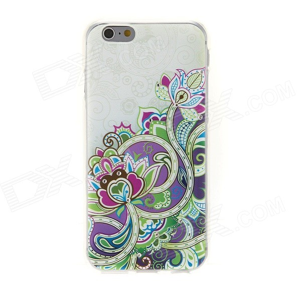 Kinston Art of Flower Rhinestone Paste Pattern TPU Soft Back Case for IPHONE 6 - Green + Purple sharpener polishing wax paste metals chromium oxide green abrasive paste chromium oxide green polishing paste