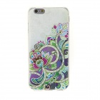 Buy Kinston Art Flower Rhinestone Paste Pattern TPU Soft Back Case IPHONE 6 - Green + Purple