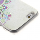 Kinston Art of Flower Rhinestone Paste Pattern TPU Soft Back Case for IPHONE 6 - Green + Purple