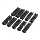 2.54mm 20Pin Plastic + Copper Simple Box Header Connectors - Black (10 PCS)