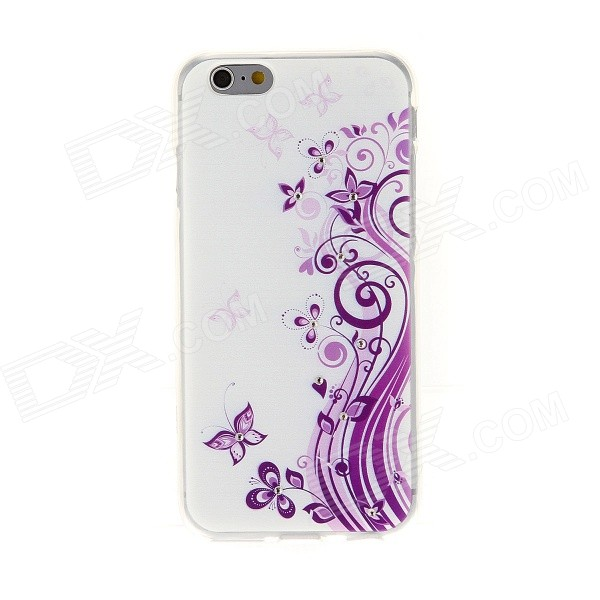 Kinston Butterfly Lace Rhinestone Paste Pattern TPU Soft Case for IPHONE 6 - Purple + White glitter powder imd tpu back case for iphone 7 black butterfly