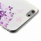 Kinston Butterfly Lace Rhinestone Paste Pattern TPU Soft Case for IPHONE 6 - Purple + White