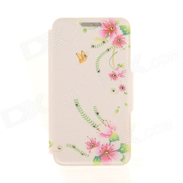 Kinston Flowers & Butterfly Rhinestone Paste Pattern PU Flip Open Case w/ Card Slot for IPHONE 6 sharpener polishing wax paste metals chromium oxide green abrasive paste chromium oxide green polishing paste