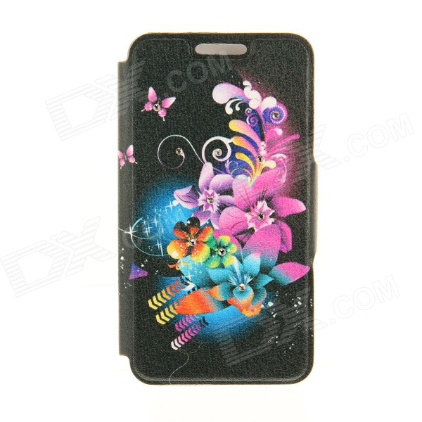 Kinston Flowers Rhinestone Paste Pattern PU Leather Flip Open Case w/ Card Slot for IPHONE 6 kinston stylish flip open pu plastic case w stand card slot for nokia lumia 520 4 3 black