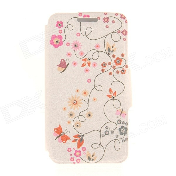 Kinston Flower & Butterfly Rhinestone Paste Pattern PU Flip Open Case w/ Card Slot for IPHONE 6 kinston stylish flip open pu plastic case w stand card slot for nokia lumia 520 4 3 black
