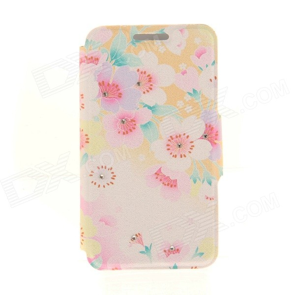 Kinston Scattered Flower Rhinestone Paste Pattern PU Flip Open Case w/ Card Slot for IPHONE 6 kinston music girl pattern pu plastic flip open case w stand card slot for iphone 6 plus