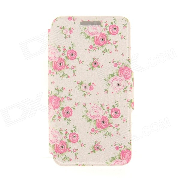 Kinston Flowers Rhinestone Paste Pattern PU Leather Flip Open Case w/ Card Slot for IPHONE 6 kinston music girl pattern pu plastic flip open case w stand card slot for iphone 6 plus