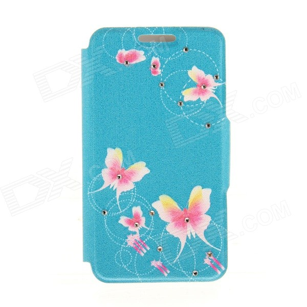 Kinston Butterflys Rhinestone Paste Pattern PU Leather Flip Open Case w/ Card Slot for IPHONE 6 kinston stylish flip open pu plastic case w stand card slot for nokia lumia 520 4 3 black