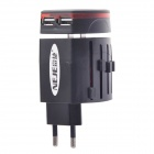 NEJE DG0005-1 Universal 6.3A 1300W Travel US / EU / AU / UK Plug Adapter + Dual USB Charger - Black