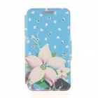 """Kinston Blue Bottom Point Flowers Rhinestone Paste Pattern PU Leather Cover for IPHONE 6 4.7"""""""