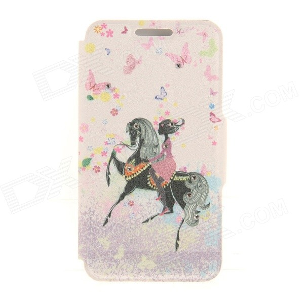 Kinston KST91864 Girl on Horse w/ Rhinestones Pattern PU Case w/ Stand for IPHONE 6 - Pink + Black stripe pattern protective flip open pu case w card slot stand for ipad air 2 white multicolor