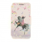 Kinston KST91864 Girl on Horse w/ Rhinestones Pattern PU Case w/ Stand for IPHONE 6 - Pink + Black