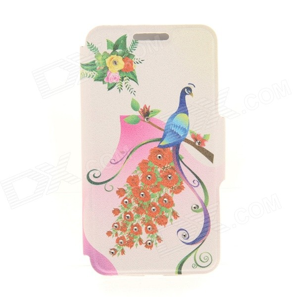 Kinston Rose Peacock Rhinestone Paste Pattern PU Flip Open Case w/ Card Slot for IPHONE 6 kinston music girl pattern pu plastic flip open case w stand card slot for iphone 6 plus