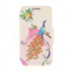 Kinston Rose Peacock Rhinestone Paste Pattern PU Flip Open Case w/ Card Slot for IPHONE 6