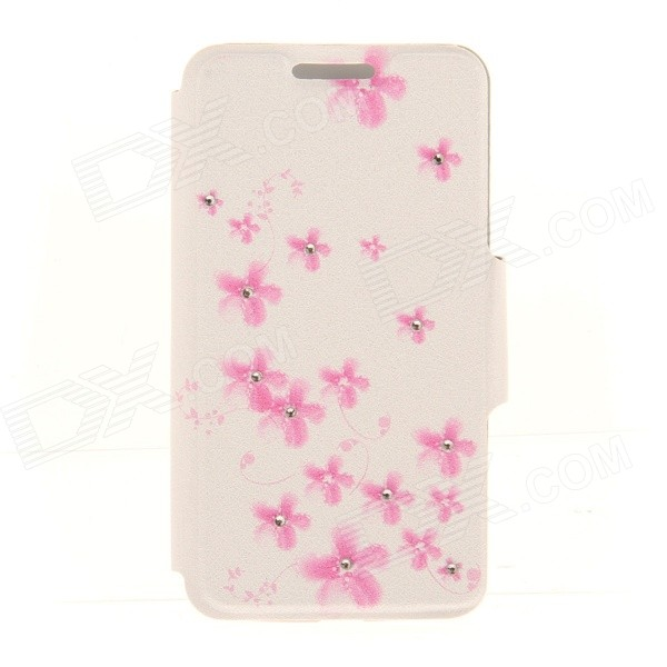 Kinston KST91867 Plum Blossom w/ Rhinestones Pattern PU Case w/ Stand for IPHONE 6 - White + Pink kinston kst92535 silk pattern pu plastic case w stand for iphone 6 plus white