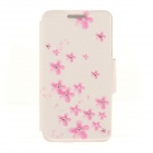 Kinston KST91867 Plum Blossom w/ Rhinestones Pattern PU Case w/ Stand for IPHONE 6 - White + Pink