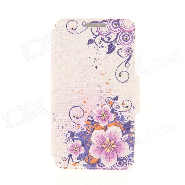 Kinston Flower Pattern Rhinestone Studded PU + Plastic Case w/ Stand + Card Slot for IPHONE 6 kinston flowers on branch pattern pu plastic case w stand for iphone 6 plus white purple