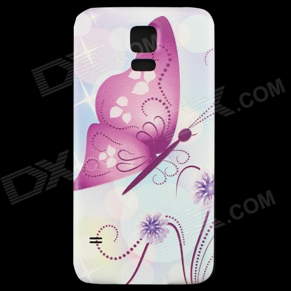 Butterfly Pattern Back Frame Back Case for Samsung Galaxy S5 - Purple + Multi-Color butterfly bling diamond case