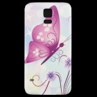 Butterfly Pattern Back Frame Back Case for Samsung Galaxy S5 - Purple + Multi-Color