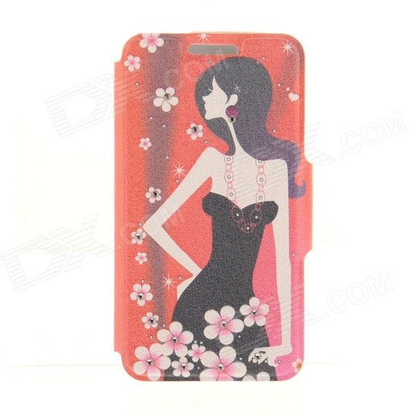 Kinston Plum Blossom and Girl Rhinestone Paste Pattern PU Flip Open Case w/ Card Slot for IPHONE 6 kinston stylish flip open pu plastic case w stand card slot for nokia lumia 520 4 3 black