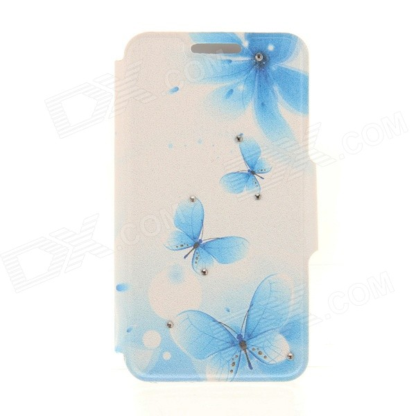 Kinston KST91869 Butterfly w/ Rhinestones Pattern PU Case w/ Stand for IPHONE 6 - White + Blue kinston kst92535 silk pattern pu plastic case w stand for iphone 6 plus white