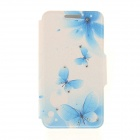 Kinston KST91869 Butterfly w/ Rhinestones Pattern PU Case w/ Stand for IPHONE 6 - White + Blue