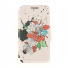 Kinston KST91871 Ink Flowers w/ Rhinestones Pattern PU Case w/ Stand for IPHONE 6 - Multicolored