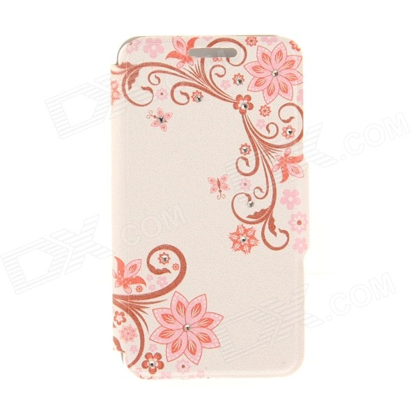 Kinston Flower Pattern Rhinestone Studded PU + Plastic Case w/ Stand + Card Slot for IPHONE 6 kinston vine five petals flower pattern pu plastic case w stand for iphone 6 plus multicolor