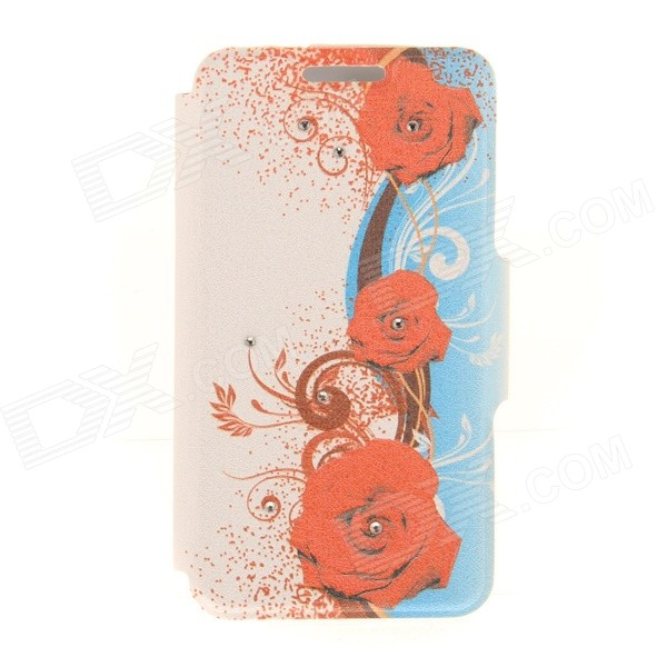 Kinston KST91874 Three Roses w/ Rhinestones Pattern PU Case w/ Stand for IPHONE 6 - Red + Blue kinston kst91874 three roses w rhinestones pattern pu case w stand for iphone 6 red blue