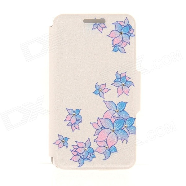 Kinston Scatter Dual Color Flower Rhinesto Paste Pattern PU Leather Flip Open Case for IPHONE 6 4.7 kinston flower