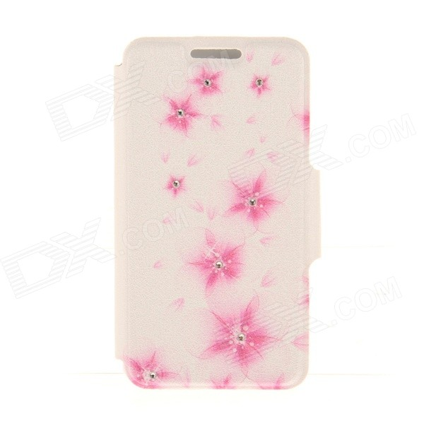 Kinston Peach Flower Pattern Rhinestone Studded PU + Plastic Case w/ Stand + Card Slot for IPHONE 6 kinston kst92535 silk pattern pu plastic case w stand for iphone 6 plus white