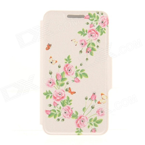 Kinston Blossom Pattern Rhinestone Studded PU + Plastic Case w/ Stand + Card Slot for IPHONE 6