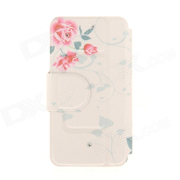 Kinston Flower Pattern Rhinestone Studded PU + Plastic Case w/ Stand + Card Slot for IPHONE 6 kinston flower bloom pattern pu leather full body case w stand for iphone 6 4 7 multicolored