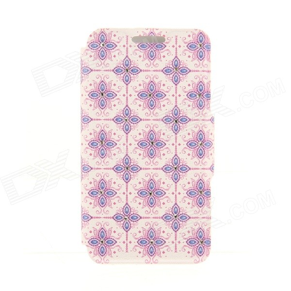 Kinston the Four Petal Plaid Rhinestone Paste Pattern PU Leather Flip Open Case for IPHONE 6 4.7 kinston flowers