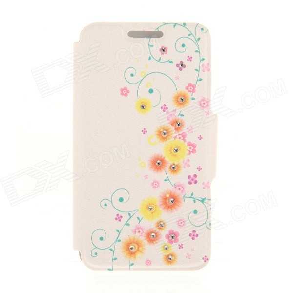 Kinston Vine Pattern Rhinestone Studded PU + Plastic Case w/ Stand + Card Slot for IPHONE 6 kinston vine pattern rhinestone studded pu plastic case w stand card slot for iphone 6