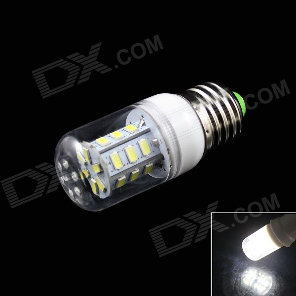 KINFIRE E27 3W 240lm 6500K 24-SMD 5730 LED White Light Corn Lamp - White + Transparent AC 220V)