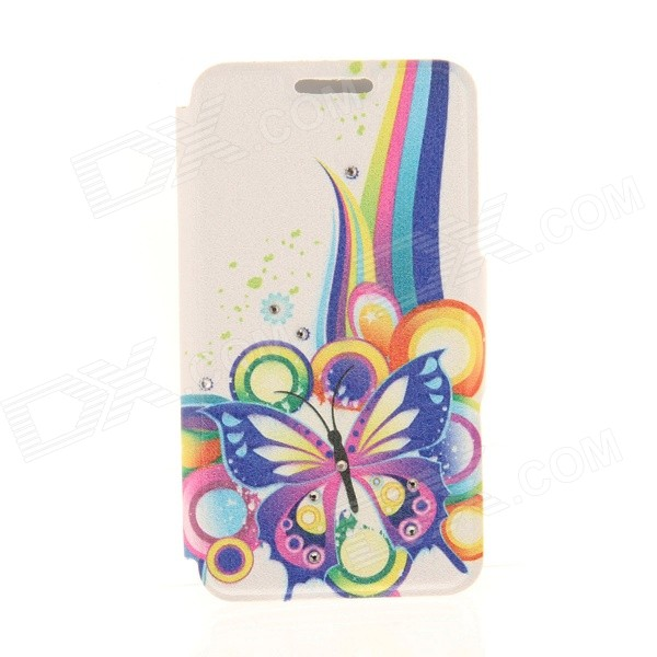 Kinston Colorful Pattern Rhinestone Studded PU + Plastic Case w/ Stand + Card Slot for IPHONE 6 kinston flowers