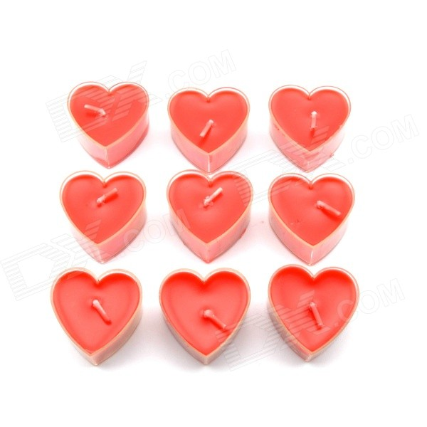 Romantic Love Heart-shaped Candle for Bar / Dinner Party - Red (9 PCS)