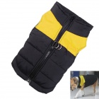 Water-resistant Quilted Padded Warm Winter Coat Jacket for Large Pet Dog - Black + Yellow (L-XS)